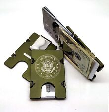 U.S. Army Mens Aluminum Wallet, RFID protection, Green Anodized