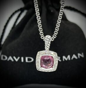 David Yurman Petite Albion Pendant Necklace with Pink Tourmaline and Diamonds