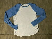 SKU Save Khaki Adult Mens Medium Raglan Tee T Shirt Long Sleeve Blue Gray