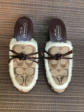 Coach brown beige white leather logo clogs 5.5