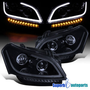 For 2010-2011 Kia Soul LED Bar Glossy Black Projector Headlights Signal