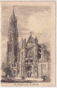 Eau Forte ARTHUR MAYEUR la Cathédrale de Senlis circa 1910