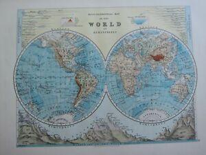 1913 MAP WORLD WESTERN EASTERN HEMISPHERES MOUNTAIN HEIGHTS RIVERS TIBET CHILIE