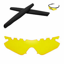 Walleva Yellow Vented Replacement + Black Earsocks for Oakley M Frame Heater