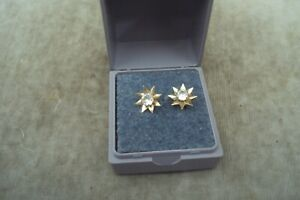 Pretty pair of boxed 9ct gold earrings in good condition.