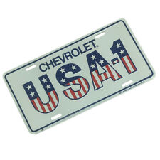 CHEVROLET USA-1 White Metal License Plate American Flag Sign Stamped CHEVY Tag