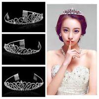 Bridal Rhinestone Tiara Hairband Crown with Small Comb Princess Queen Wedding