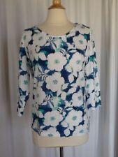 SIZE L - $30.00 CROFT & BARROW Crimped Boatneck Floral Blue Teal Top Shirt