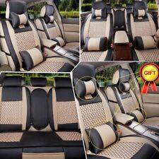 US Universal L Size Car PU Leather Seat Covers 5-Seat Front+Rear+Gift Full Set