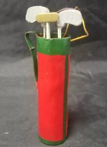 Golf Bag Christmas Tree Ornament Red, Golf Clubs Putter, Irons