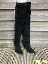 100 % Authentic Black Suede YSL SAINT LAURENT OTK Boots, size 38