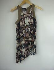 SABA Top/blouse Sz 6 Brown purple print Silk mix