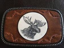 Moose Wood Metal Belt Buckle Vintage