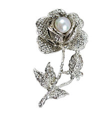 Rose Wedding Bridal Brooch Pin Br251 Luxury Vintage Style Silver Cream Pearls