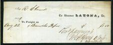 "STEAMBOAT FREIGHT BILL ""LATONA"", Mississippi River, 1849"