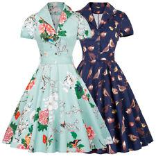 Vintage 50s 60s Retro Short Sleeve Spring Pattern Cotton Party Picnic Tea Dress