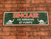 VINTAGE OLD SINCLAIR NO SMOKING DINO PORCELAIN SIGN GAS PUMP OIL PETROL RARE