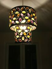 Next Ceiling Pendant Lamp Shade, Metallic Brown with Bead Droplets.