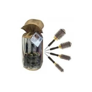 HEAD JOG Professional Radial Hair Brush Set Thermal Gold Ceramic x4 Sizes