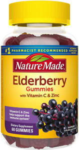Nature Made Elderberry Gummies with Zinc and Vitamin C, 60 Count (Pack of 1)