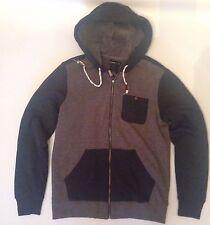 Men's O'Neill Melbourne Sherpa Full Zip Hoodie Fleece Jacket Navy Grey Size S