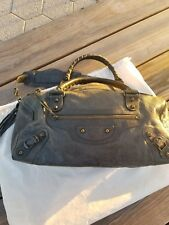 Balenciaga Giant Part Time Satchel Shoulder Hand Bag Lambskin Color Steel Teal