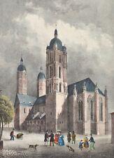 Dom zu Naumburg Original Lithografie Saxonia 1837 Cathedral Church koloriert