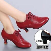 Womens pumps mid heels Lombard Modern Dance leather Shoes ballroom Latin Outdoor