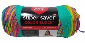 Red Heart Super Saver Color Block Jumbo Yarn Party Time 10oz 482 Yds Brand New