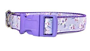 Flowers On Lilac Floral Adjustable chic Dog Collar Girl Medium Large