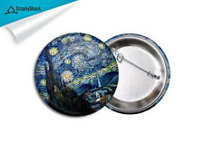 "Van Gogh Starry Night Pinback Badge BIG 2 1/4"" Button Pins Painting Badge"