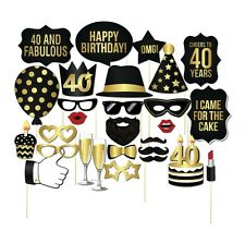 28PCS 40th Fortieth Birthday Party Masks Favor Photo Booth Props On A Stick