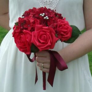 Artificial Red Rose and Hydrangea Flower Bridal Bouquet
