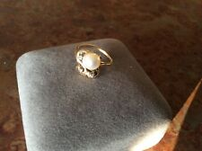 VINTAGE 14KP PLUMB YELLOW GOLD PEARL DIAMOND RING 3.7 GRAMS