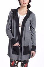 Anthropologie Vanessa Virginia Hooded Open Cardigan Gray Herringbone Sweater XS