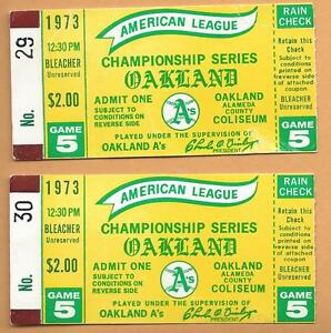 1973 ALCS ticket lot of 2 Baltimore Orioles Oakland A's Gm 5 Clincher Hunter WIN