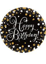 Gold Celebration Happy Birthday Party Plates