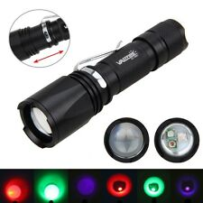 Green Red UV Light 3x XPE LED Adjustable Zoomable Flashlight Torch Hunting Lamp