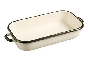 Enamel Roasting Dish 40 X 21 X 7.5CM Cream and Black 4.5L