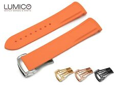 20mm 22mm For OMEGA Watch ORANGE Rubber Strap Band Clasp SeaMaster Planet Ocean