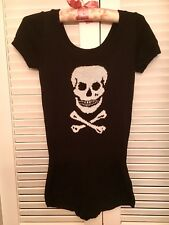 Vtg Punk Betsey Johnson Knit Blk White skull sweater Jumper Sz M