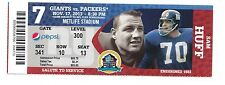 2013 NEW YORK GIANTS VS GREEN BAY PACKERS TICKET STUB 11/17/13 SAM HUFF