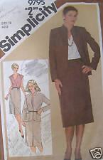 Vintage Simplicity Pattern 1980s 12 Skirt Blouse Jacket