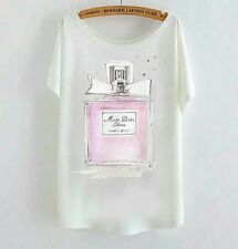 Casual White Tshirt | Perfume Pink Bow Miss Dior Cherie Print | Size M