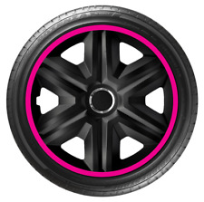 14 Inch Wheel Trim Set Gloss Black Set of 4 Univers Hub Caps Covers [LUX Pink]