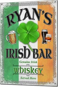Irish Bar Personalised Metal Sign Any Name Custom Plaque Man Cave