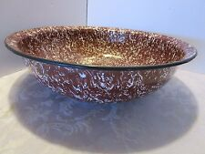 "Graniteware large Wash Basin brown white swirl 17"" x 5"" Enamelware bowl"