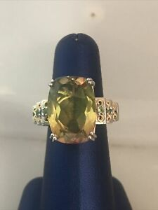 STS Chuck Clemency Sterling Silver Yellow Gemstone Ring Sz 7