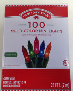 MULTI-COLOR MINI LIGHTS 100-GREEN WIRE 21.5 FT LENGTH  LOT OF 2--INDOOR-OUTDOOR