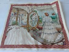 Vintage Crinoline Lady Tapestry in Bedroom looking in a Mirror 41cm by 36cm